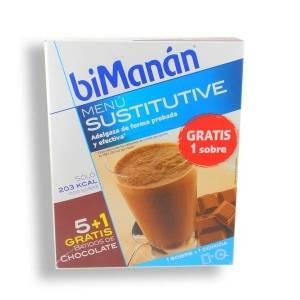 BiManan Batido de Chocolate Dieta Hiperproteica Método PRO, 6 sobres x 50g