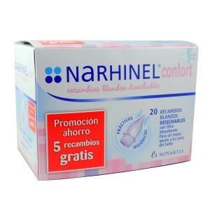 Narhinel Confort Recambios Blandos desechables Aspirador Nasal, 20Ud